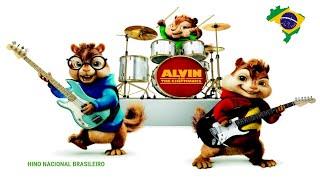 Alvin e os Esquilos Cantam o Hino Nacional.