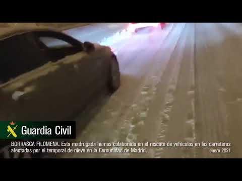 Borrasca Filomena. Rescate de vehículos en las carreteras de Madrid