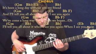 See You Again (Wiz Khalifa) Bass Guitar Cover Lesson in Gm with Chords/Lyrics