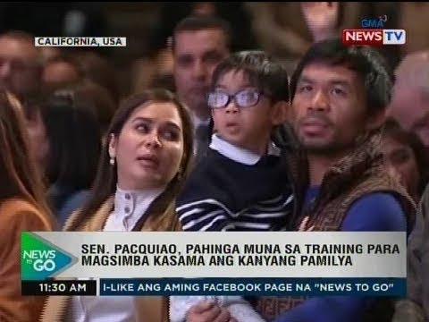 NTG: Sen. Pacquiao, pahinga muna sa training para magsimba kasama ang kanyang pamilya