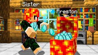 7 Ways to STEAL my Little Sister's Diamonds! (Minecraft)