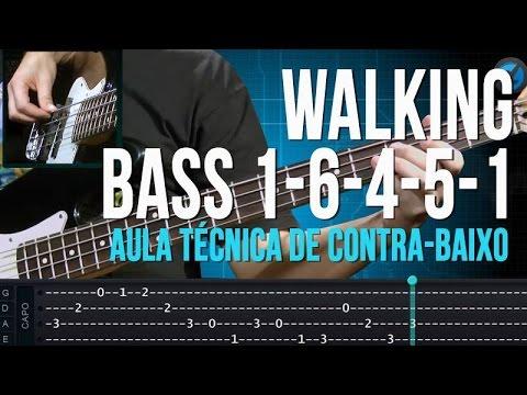 Walking Bass 1 - 6 - 4 - 5 - 1 (aula técnica de contra-baixo)