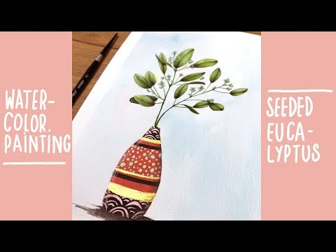 watercolor painting : seeded eucalyptus