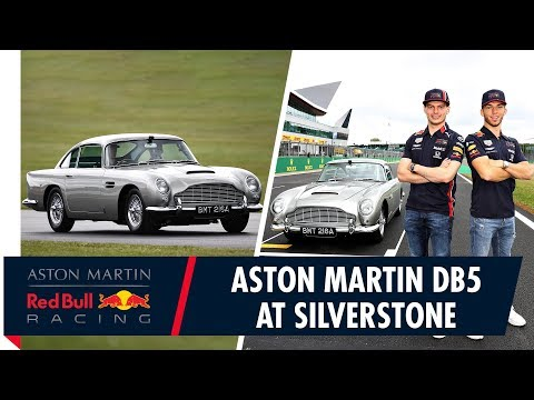 Aston Martin DB5 Silverstone   Max Verstappen and Pierre Gasly go for a lap