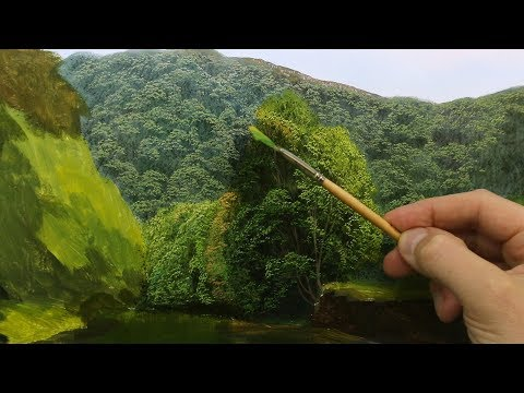 #115 Using a fan brush to paint tree details