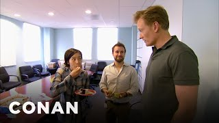 Conan Busts His Employees Eating Cake  - CONAN on TBS width=