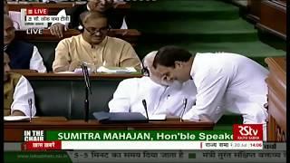 Rahul Gandhi greets PM Modi after his speech in Lok Sabha