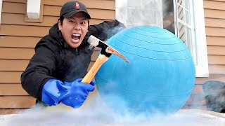 Science Experiment LIQUID NITROGEN vs GIANT BOUNCY BALL