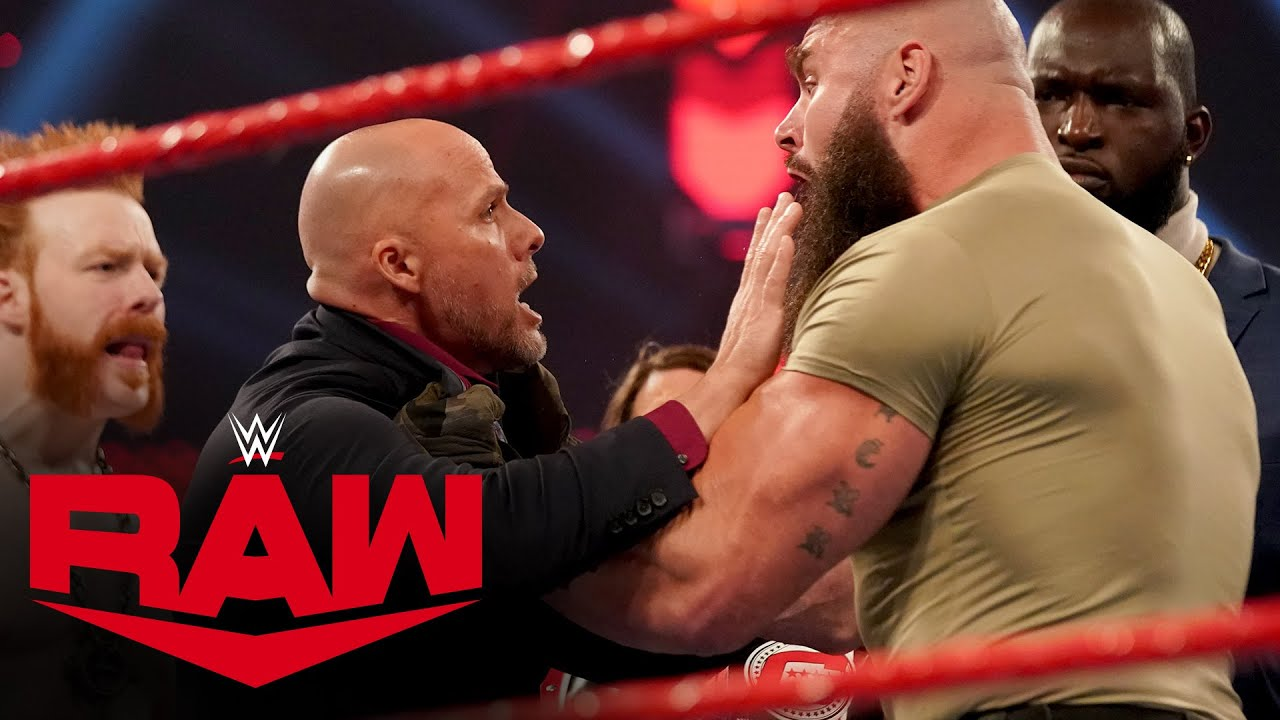 WWE - Braun Strowman attacks Adam Pearce amid Team Raw chaos: Raw, Nov. 23, 2020