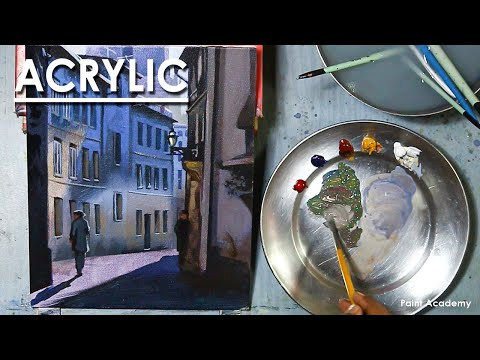 Acrylic Painting : A Composition on A City Lane with Backlit Atmosphere | Cityscape painting