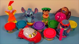 2004 DISNEY'S LILO and STITCH PLAY-DOH SET OF 6 McDONALD'S HAPPY MEAL TOY'S VIDEO REVIEW width=