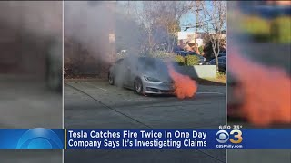 Video Shows Brand New Tesla Bursts Into Flames Twice In One Day