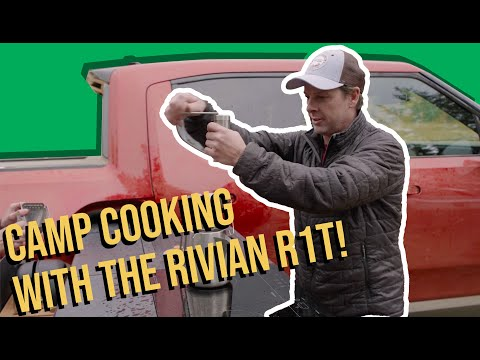 Rivian's R1T truck camp kitchen in action