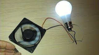 "Free Energy Magnet Motor fan used as Free Energy Generator ""Free Energy"" light bulb!"