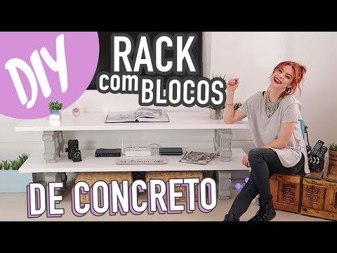 DIY - RACK com Bloco de Concreto! + Mesa c/ Caixote de Feira. #MontandoMeuApê05