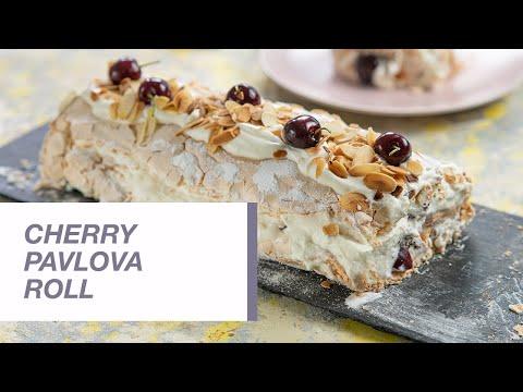 Cherry Pavlova Roll | Meringue Roll | Food Channel L Recipes