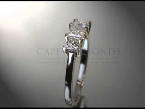 3 stone ring,cushion,thin band,platinum,engagement ring