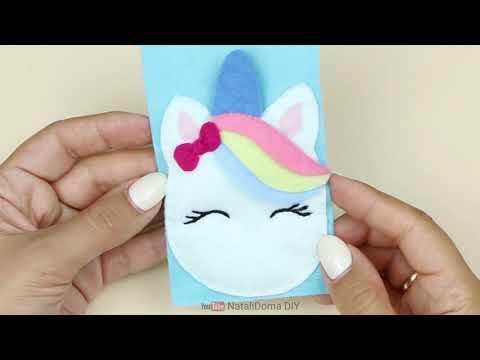 Милый ЕДИНОРОГ — Пенал на резинке своими руками / CUTE UNICORN pencil case-bookmark DIY NataliDoma