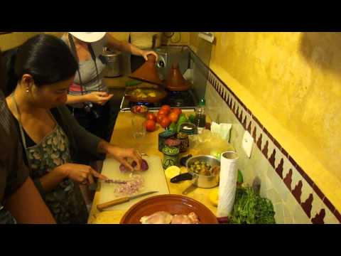 Stacey Lymbery in Morocco learning to cook a tagine