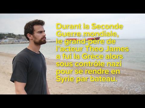 L'acteur britannique Theo James rencontre des réfugiés syriens en Grèce