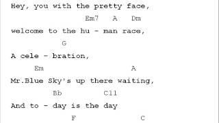 ELO Mr. Blue Sky Chord Chart