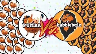 AGAR.IO -PUMBA VS BubbleBALZ!! Who will win ?   The best battle ever IN AGARIO!!