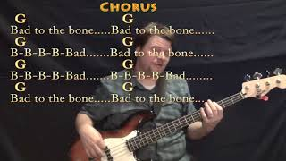 Bad to the Bone (George Thorogood) Bass Guitar Cover Lesson in G with Chords/Lyrics