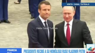Macron recibe a Putin en el Palacio de Versalles Video