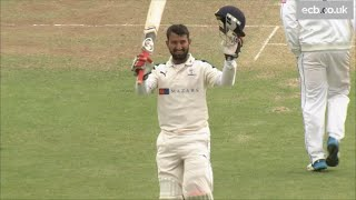India cricket star Cheteshwar Pujara scores a century for Yorkshire v Hampshire