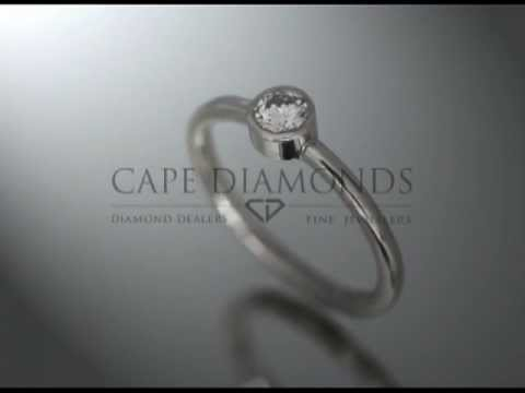 Solitaire ring,round diamond and fitting,no claws,platinum,engagement ring