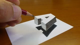 "Very Easy!! How To Drawing 3D Floating Letter ""A"" #2  - Anamorphic Illusion - 3D Trick Art on paper"