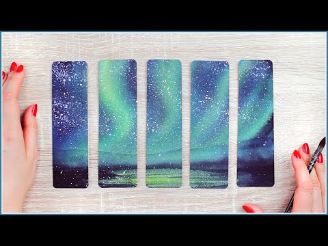 DIY Watercolor Bookmarks & Gift Ideas | How to Paint the Northern Lights / Aurora Borealis