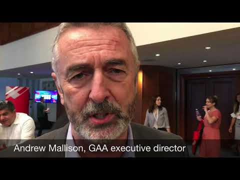 GAA's Andrew Mallison speaking at GOAL 2018