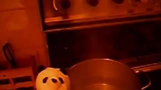 Chef Panda prepares Spaghetti alla Carbonara