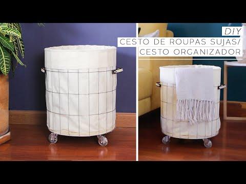 DIY Cesto de Roupa Suja : Cesto Organizador de Alambrado