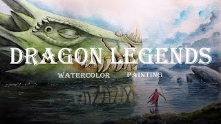 Dragon legends -- Watercolor painting (aquarelle) -- Drawing