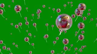 Teddy Bear Bubbles Moving Animation on Green Screen Background