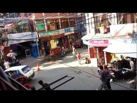Nepal Kathmandu Center Thamel Traffic Jam Crossroad