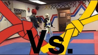 TAEKWONDO SPARRING YELLOW BELT VS RED BELT SPARRING/FIGHTING