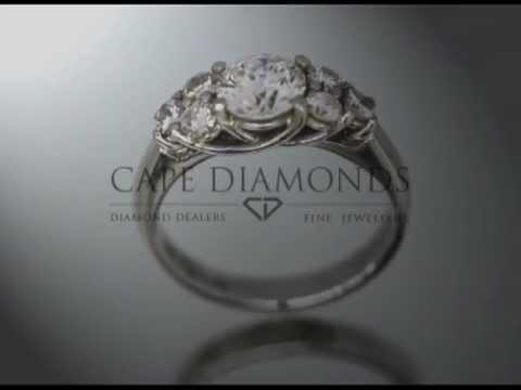 Complex stone ring,round diamonds,4 claws,platinum,engagement ring