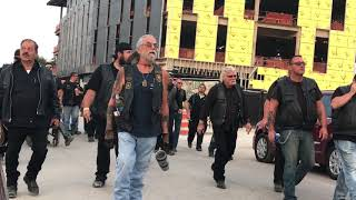 Kid Rock Little Ceasars Arena Opening day. Motorcycle club walk the streets to protect concert goers
