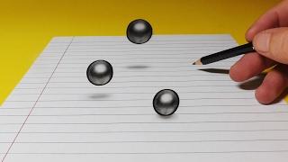3D Trick Art Drawing - Levitating Ball Bearings
