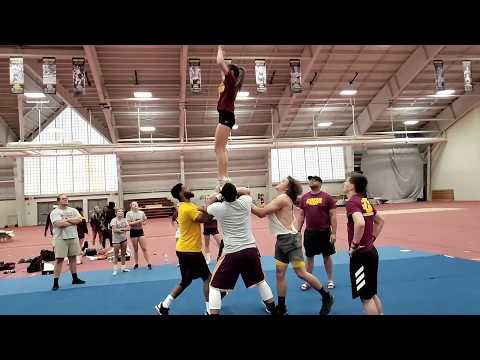 Coed Cheer Team practice
