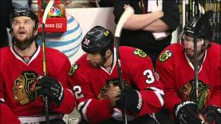 Justin Abdelkader eats Michal Rozsival's stick May 15 2013 Detroit Red Wings vs Chicago Blackhawks