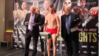 LEWIS PETTITT v ANTONIO HORVATIC OFFICIAL WEIGH IN & HEAD TO HEAD FOOTAGE