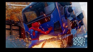 Spiderman stops a truck - side mission: Marvel's Spider-Man, PS4 Pro