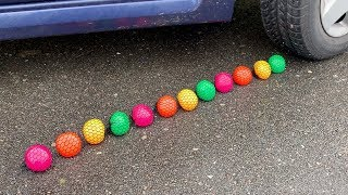 10 SQUISHY STRESS BALLS vs CAR