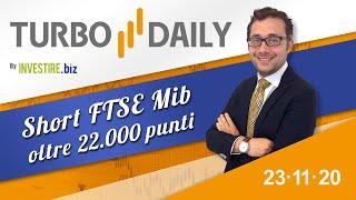 Turbo Daily 23.11.2020 - Short FTSE Mib oltre 22000 punti