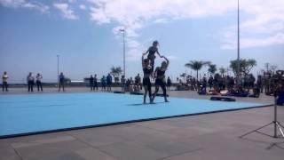 Exibições de Ginástica na Praça do Provo - Trio Fem. Acrobática Esc. da Calheta