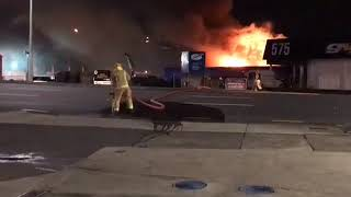 Huge overnight fire in Penrose disrupts trains